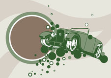 Oldies car background. Old delapidated car fly the magic bubbles.Put your text in the big circle Stock Image