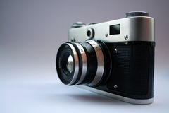 Oldies but goodies. Old film photo camera isolated Royalty Free Stock Photography