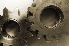 Oldish, sepia look of gears. Gears-wheels in old sepia Royalty Free Stock Images