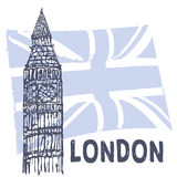 Oldlondon. Sketch of Big Ben on the background of the British flag Royalty Free Stock Images
