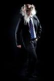 Oldman attrayant dans le costume classique posant sur le fond noir Photos libres de droits