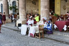 Oldman with cigar in Havana stock photo