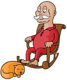 Oldman & his Cat. Represent an old man sitting on a rocking chair with a sleeping cat. Available in vector eps 8 file Stock Photo