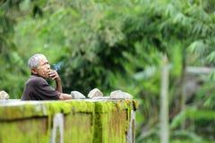 Oldman med hans cigarett Arkivfoton