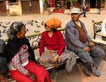 Oldman Nepalis communicate Boudhanath stupa Royalty Free Stock Photography