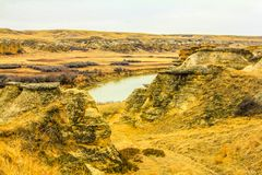 Oldman river flowing through the badlands. Writing on Stone Provincial Park, Alberta, Canada Stock Photo