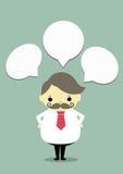 Oldman thinking. Business oldmanl and thinking box on blue background Stock Image
