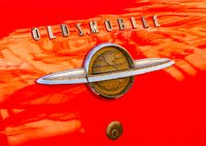 Oldmobile class car logo. Havana, Cuba, Nov 21, 2017 - Rear trunk logo from a classic American 1950`s Oldsmobile royalty free stock image