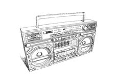 Oldschool boombox Stock Images
