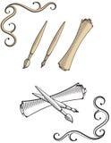 Oldschool brush, pen, scroll illustrations Stock Photos