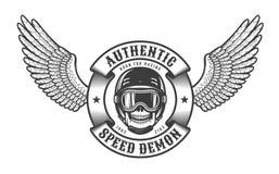 Oldschool emblemat z skrzydło czaszką w bieżnym hełmie ilustracja wektor
