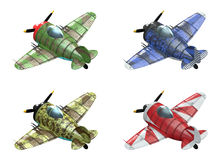Oldschool fighter aircraft. Cartoon style. 3D model of an stylized cartoon oldschool single engine fighter aircraft in different paint schemes. Perspective view Royalty Free Stock Images