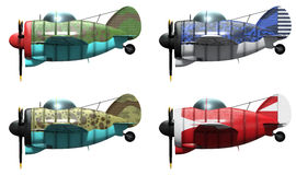 Oldschool fighter aircraft. Cartoon style. 3D model of an stylized cartoon oldschool single engine fighter aircraft in different paint schemes. Side view Stock Image