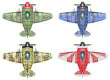 Oldschool fighter aircraft. Cartoon style. 3D model of an stylized cartoon oldschool single engine fighter aircraft in different paint schemes. Top view Stock Photography