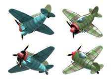 Oldschool fighter aircraft. Cartoon style. Perspective view. 3D model of an stylized cartoon oldschool single engine fighter aircraft. Perspective view Royalty Free Stock Photography