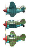 Oldschool fighter aircraft. Cartoon style. Side view. 3D model of an stylized cartoon oldschool single engine fighter aircraft. Side view. Isolated on white Royalty Free Stock Image