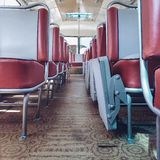 Oldschool retro vintage bus interior royalty free stock photos
