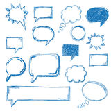 Oldschool Speech Bubbles. Handdrawn communication bubbles on the white background vector illustration