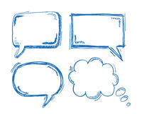4 Oldschool Speech and Thought Bubbles Stock Image