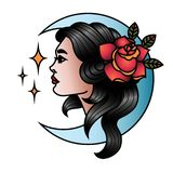 Oldschool Traditional Tattoo Vector Girl With Rose And Moon Stock
