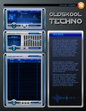 Oldskool Techno brochure. Realistic MP3 Media player brochure with equalizer panel editor on space techno background Stock Photos