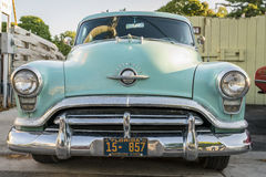 Oldsmobile 88. Leland, Michigan, August 8, 2016: Front view of classic 1952 Oldsmobile 88. The Oldsmobile 88 is a full-size car that was sold and produced by Royalty Free Stock Photography