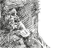 Oldster w nakrętki spojrzeniach za okno wektor ilustracja wektor
