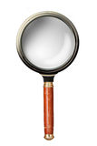 Oldstyle magnifying glass isolated on white royalty free stock photography