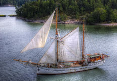 Oldtimer. A old sailingship crusing around in the swedish archipelago Royalty Free Stock Image