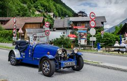 Oldtimer Bugatti Cabrio at Hallstatt village in the Austria royalty free stock photos