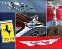 Oldtimer car  rally collage. Corporate logos of veteran car rally 500 km SlovakXIV. International oldtimer rallye 500 km Slovakia Stock Photography