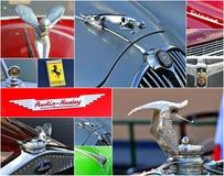 Oldtimer car  rally collage. Corporate logos of veteran car rally 500 km SlovakXIV. International oldtimer rallye 500 km Slovakia Stock Image