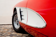 Oldtimer detail. View on a red classic roadster royalty free stock photography