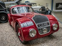 Oldtimer Jawa 750. PRAGUE, CZECH REPUBLIC - MARCH 8 2017: Red oldtimer Jawa 750, from 1935, showcased in the National Technical Museum of Prague Stock Image