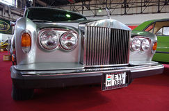 Oldtimer limousine. BUDAPEST - APRIL 16: Front of renovated Rolls Royce Silver Shadow 1977 on 4th Oldtimer Expo on April 16, 2010 in Budapest, Hungary Stock Photography