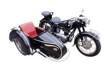 Oldtimer motorbike. With trailer isolated Royalty Free Stock Photo