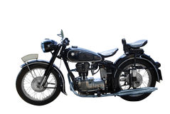 Oldtimer motorcycle. Isolated on white Stock Images