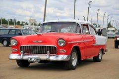 Oldtimer rotes Chevrolet Bel Air Stockbilder
