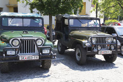 Oldtimer Show Skopje 2016. SKOPJE MACEDONIA - MAY 07 2016: Old Jeep on 11th Old Timer Car Show, May 07, 2016 in Skopje. The event organized by Euroimpex from Royalty Free Stock Image