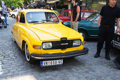 Oldtimer Show Skopje 2016. SKOPJE MACEDONIA - MAY 07 2016: Old SAAB on 11th Old Timer Car Show, May 07, 2016 in Skopje. The event organized by Euroimpex from Royalty Free Stock Image