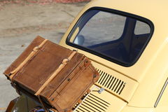 Oldtimer with suitcase Royalty Free Stock Images