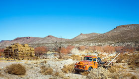 Oldtimer towing vehicle in the desert at El Paso Texas. USA stock photo