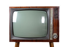 Oldtimer TV. Old vintage TV over a white background with clipping-path Royalty Free Stock Photos
