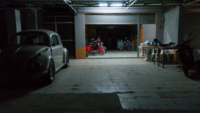 Oldtimer and Vespa store in Thailand Stock Photography