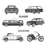 Oldtimer, Weinleseautoikonen, Symbolsatz Gezeichnete Autos der Weinlese Hand, Muskel, Motorradelemente Gebrauch für Logo, Aufkleb stock abbildung