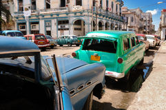 Oldtimers in Old havana street stock images