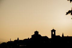 Oldtown skyline. Skyline silhouette of the ancient part of a city against the evening sky Stock Photo