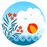 Oleander and beach ball Royalty Free Stock Images
