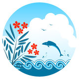 Oleander and fish. Jumping over the waves Royalty Free Stock Image