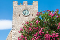 Oleander tree and medieval clock tower in Taormina Stock Images